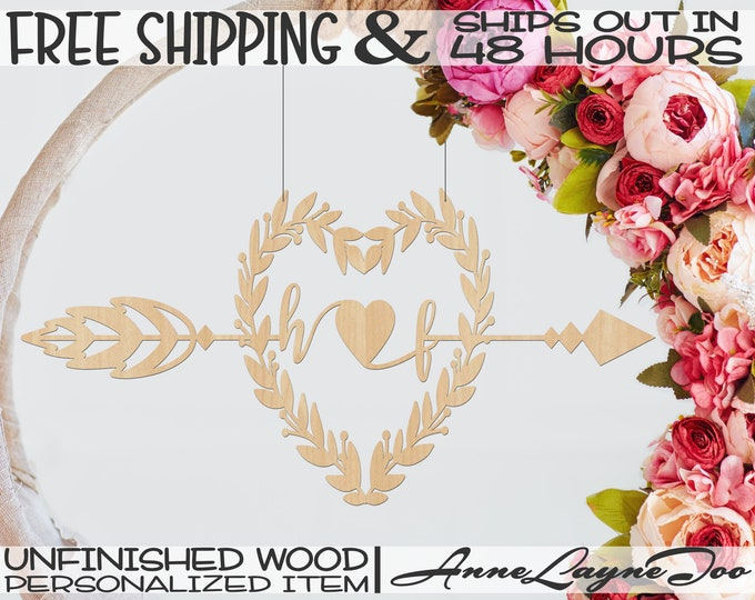 Leaf Berry Heart Initial Cutout, Arrow Initial Wall Art, Wedding Decor, unfinished, wood cut out, laser cut, Ships in 48 HOURS -990066