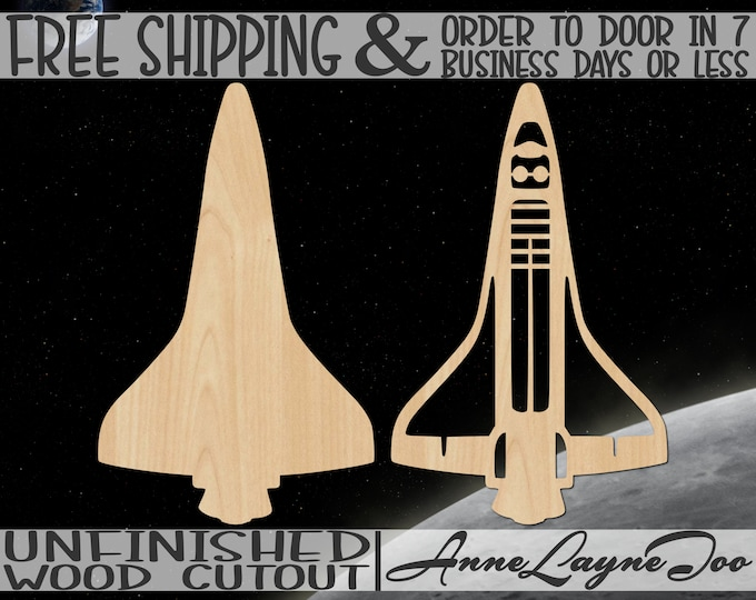 Space Shuttle Wood Cutout, Space Cutout, spacecraft sign, Door Hanger, wreath accent, unfinished, wood cut out, laser cut -470015-16