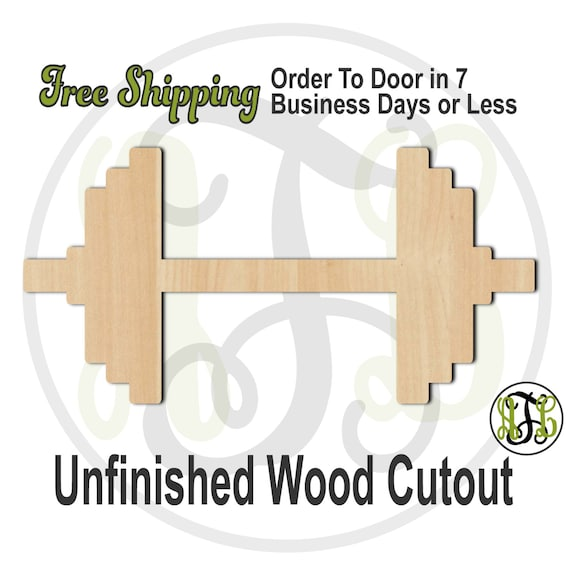 Barbell - 300081- Exercise Cutout, unfinished, wood cutout, wood craft, laser cut shape, wood cut out, Door Hanger, Workout, wooden