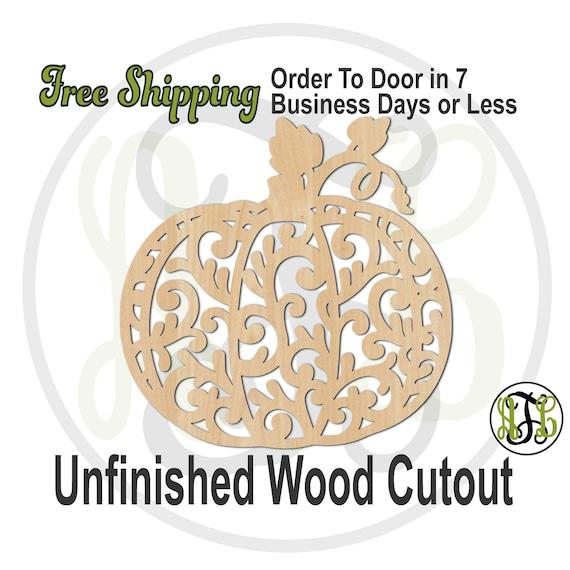 Flourish Pumpkin 2- 170028- Thanksgiving Cutout, unfinished, wood cutout, laser cut shape, wood cut out, Door Hanger, Holiday, wooden