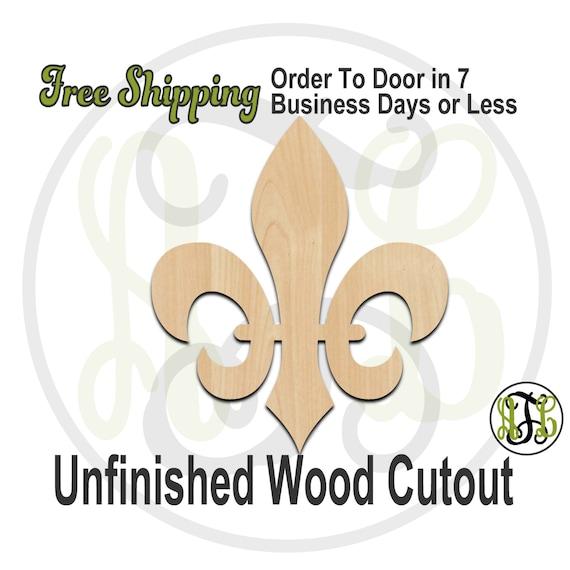 Fleur de Lis 7- 300026- Cutout, unfinished, wood cutout, wood craft, laser cut shape, wood cut out, Door Hanger, wooden, ready to paint