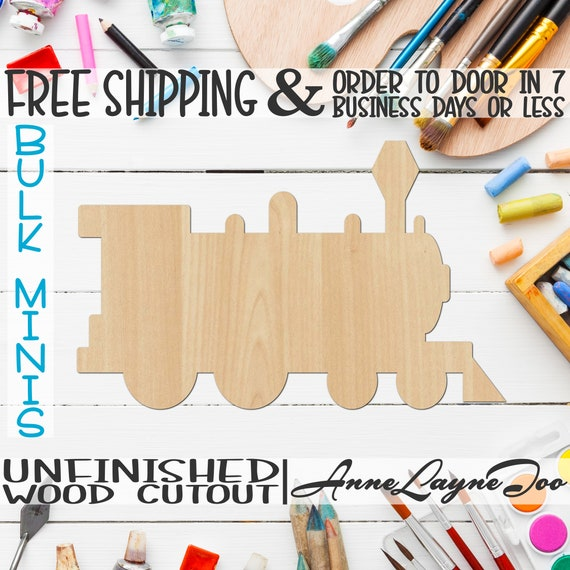 """Train- 2"""" to 6"""" Minis, Small Wood Cutout, unfinished, wood cutout, wood craft, laser cut shape, wood cut out, ornament -300120"""