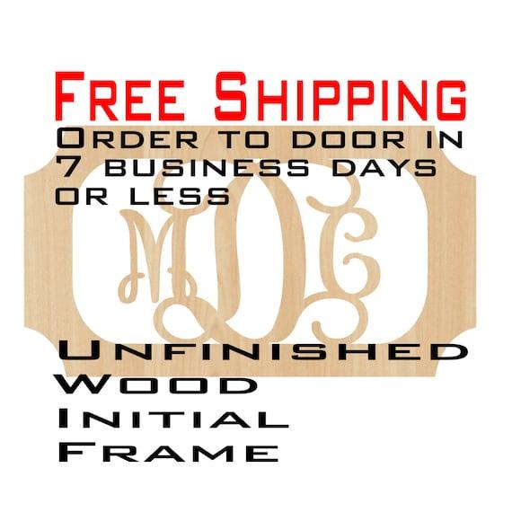 Unfinished Wood Melanie Frame Monogram Name Word Custom | Etsy