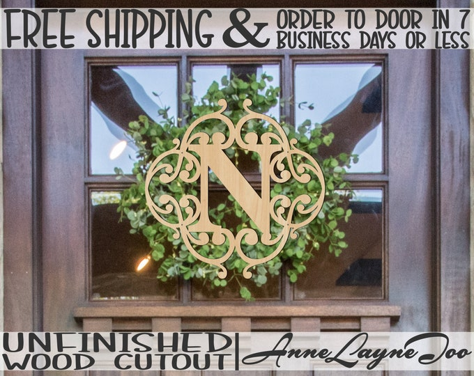 Wedding Monogram Wood Cutout, Family Initial Cutout, wooden, Door Hanger, wood sign, unfinished, wood cut out, laser cut -990043M1