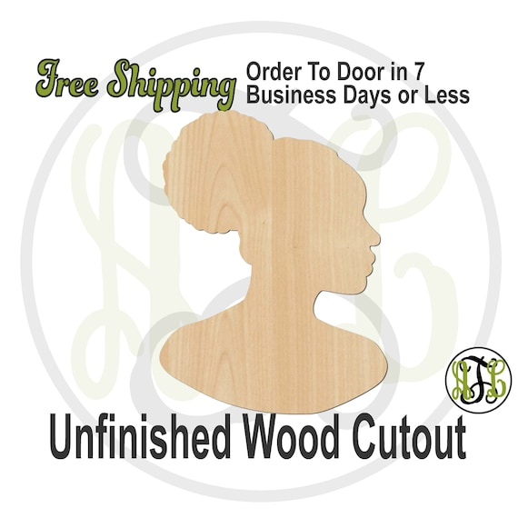 African American Afro Puffs Woman Wood Cutout, wood cut out, African American Woman Door Hanger, laser cut, unfinished wood cutout - 3300014