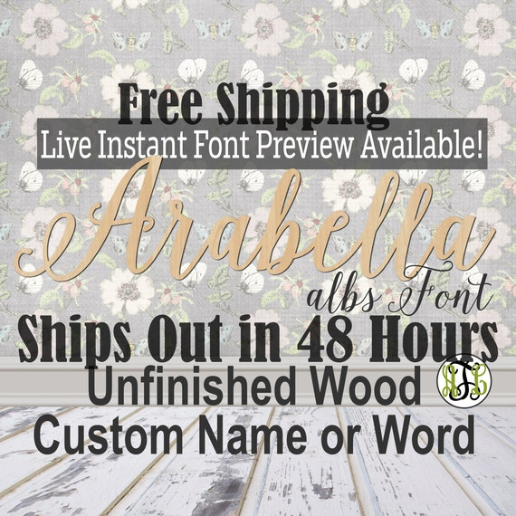 Wooden Name Sign, albs Font,  unfinished wood cutout, Custom Wood Name Sign, Nursery Sign, Wedding, Birthday Sign, Name in Wood- 48 HOURS