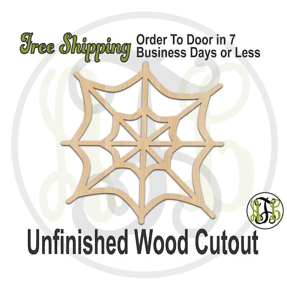 Spider Web - 160010- Halloween Cutout, unfinished, wood cutout, wood craft, laser cut shape, wood cut out, Door Hanger, wooden, wall art