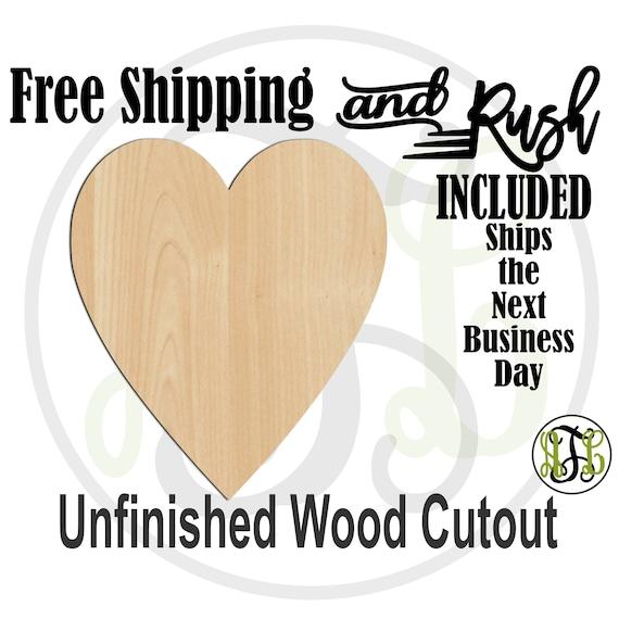 Thin Heart - 110044- Valentine Cutout, unfinished, wood cutout,  laser wood cutout, Door Hanger, wall art - RUSH PRODUCTION