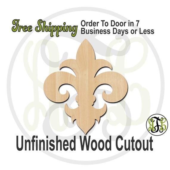 Fleur de Lis 12- No. 300031- Cutout, unfinished, wood cutout, wood craft, laser cut shape, wood cut out, Door Hanger, wooden, ready to paint