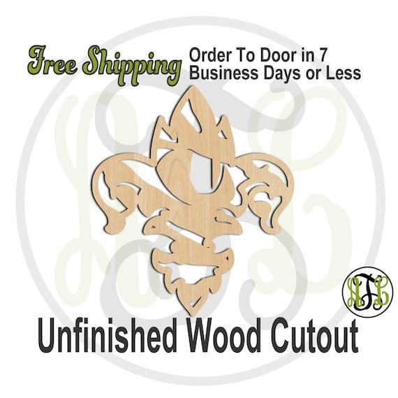 Fleur de Lis Tiger Eye- 60132- School Spirit Cutout, unfinished, wood cutout, wood craft, laser cut shape, wood cut out, Free Ship, wooden