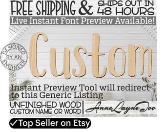 Custom Name / Word / Phrase- Block Letter Cutout, unfinished wood, wood cutout, craft, laser cut wood, wood cut out, name sign, word sign