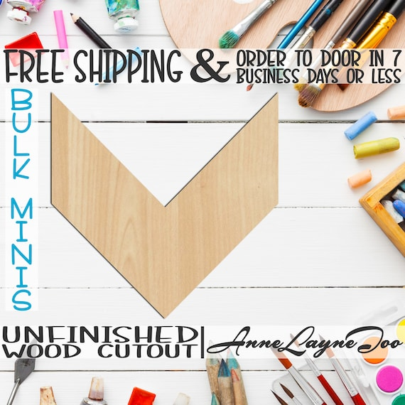 "Chevron- 1"" to 10"" Minis, Small Wood Cutout, unfinished, wood cutout, wood craft, laser cut shape, wood cut out, ornament -40058"