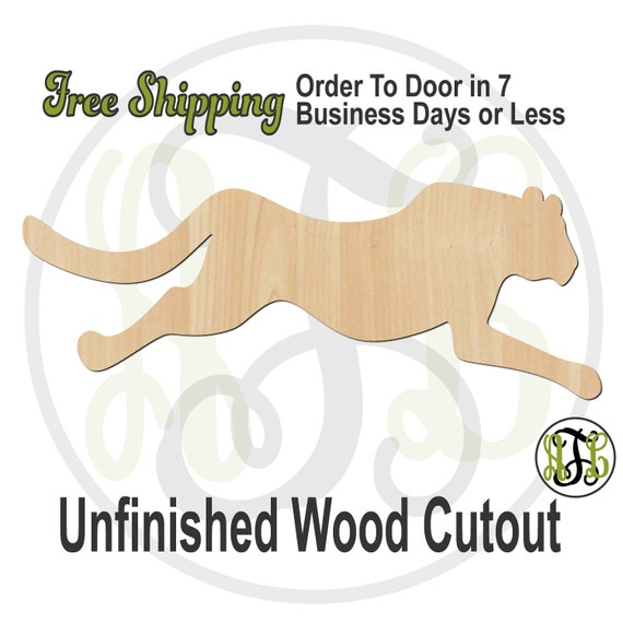 Running Cheetah - 60535- Cat Cutout, unfinished, wood cutout, wood craft, laser cut, Door Hanger, wood cut out, wooden, Fishing, Outdoors