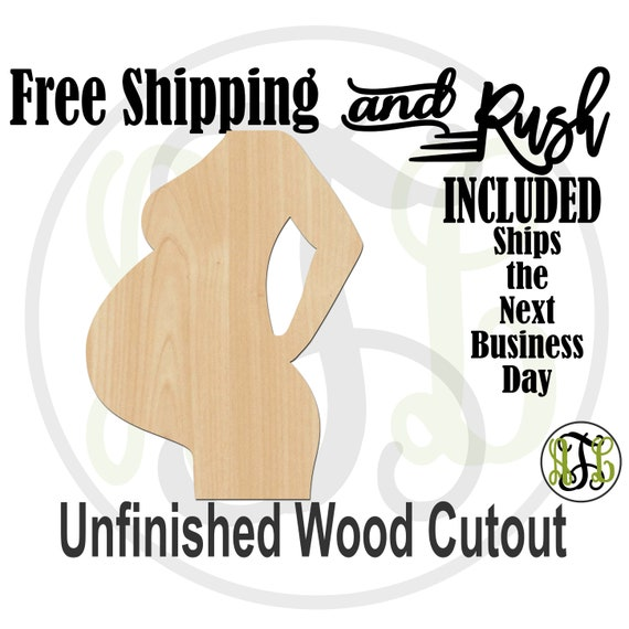 Pregnant Belly -300209- Baby Shower Cutout, unfinished, wood cutout,  laser shape, Door Hanger, Girl or Boy - RUSH PRODUCTION