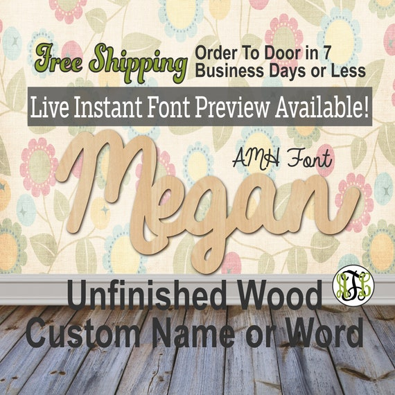 Custom Wood Name Sign, AMH Font, Cursive, Connected, wood cut out, wood cutout, wooden sign, Nursery, Wedding, Birthday, word sign