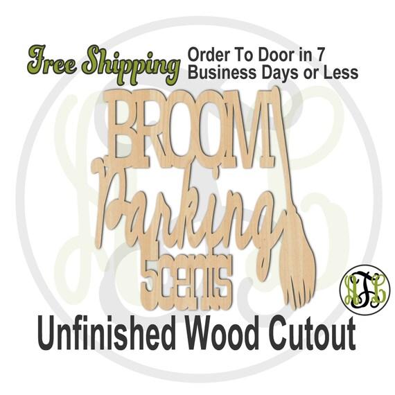 Broom Parking - 160201- Halloween Cutout, unfinished, wood cutout, wood craft, laser cut shape, wood cut out, Door Hanger, wooden, wall art