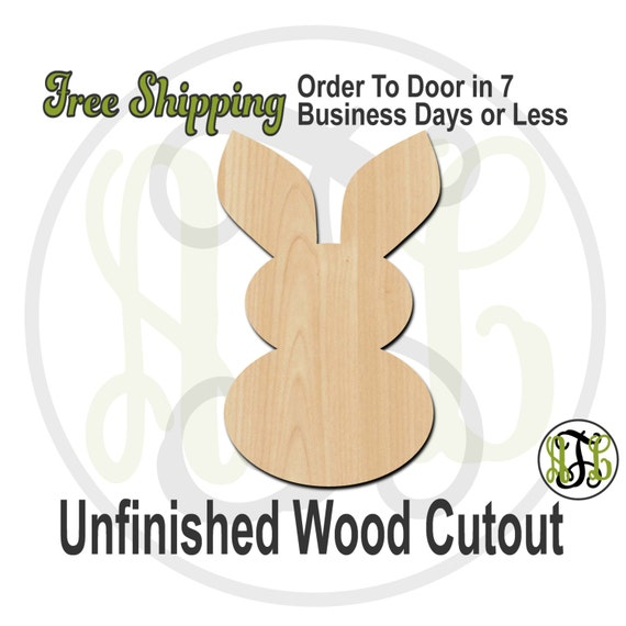 "Bunny 2- 2"" to 6"" Minis- 230038- Small Wood Cutout, unfinished, wood cutout, wood craft, laser cut shape, wood cut out, ornament"