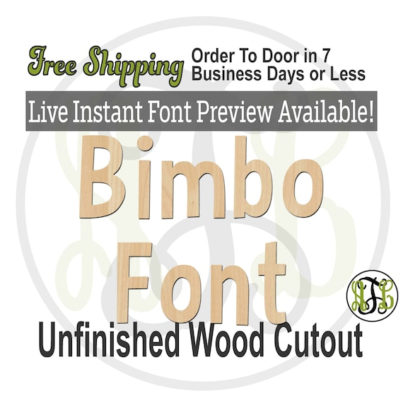 Bimbo Font Name / Word / Phrase- Block Alphabet Cutout, unfinished, wood cutout, laser cut wood, wood cut out, wooden,  Live Font Preview