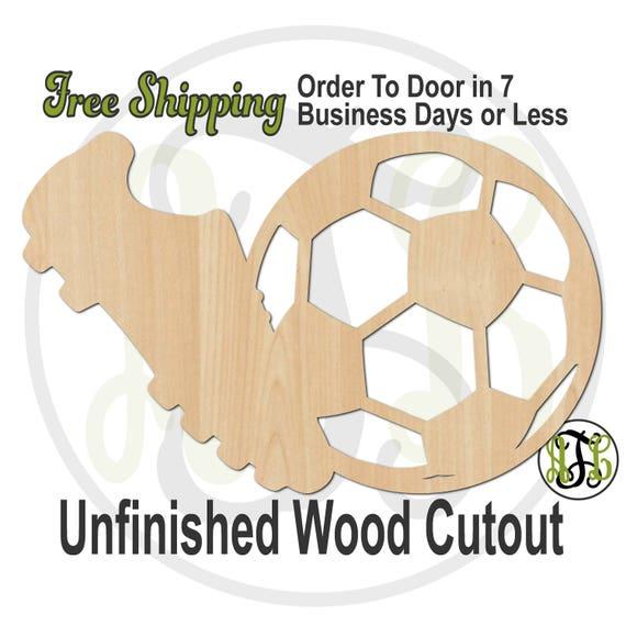 Soccer Ball and Cleat - 60048- School Spirit Cutout, unfinished, wood cutout, wood craft, laser cut, wood cut out, Door Hanger, wooden