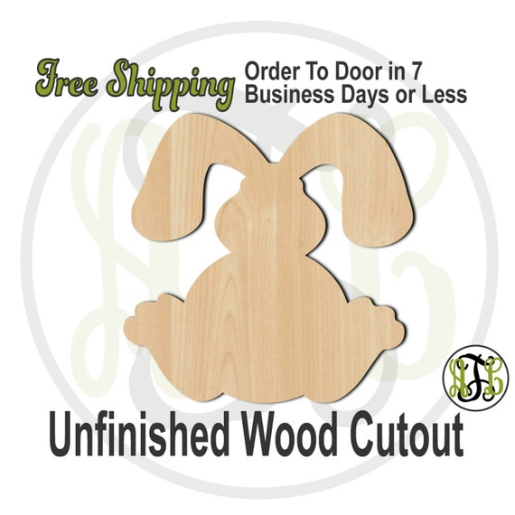 Bunny 3- 230039- Easter Cutout, unfinished, wood cutout, wood craft, laser cut shape, wood cut out, Door Hanger, wooden, wall art
