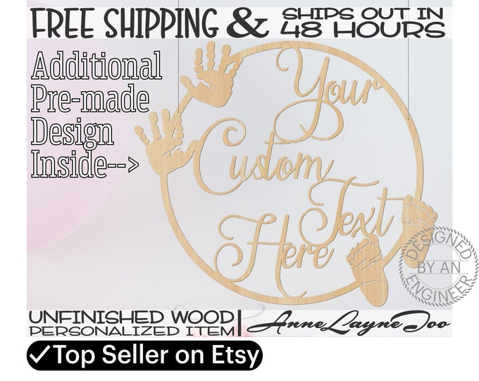Custom Baby Hand & Foot Prints Wood Sign, Nursery Art, Baby Shower, unfinished, wood cut out, laser cut, Ships in 48 HOURS -990076-325197