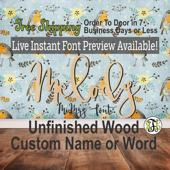 Custom Wood Name Sign, MiMgy Font, Cursive, Connected, wood cut out, wood cutout, wooden, Nursery, Wedding, Birthday, word sign, Script