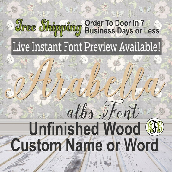 Custom Wood Name Sign, albs Font, Cursive, Connected, wood cut out, wood cutout, wooden, Nursery, Wedding, Birthday, word sign, Script