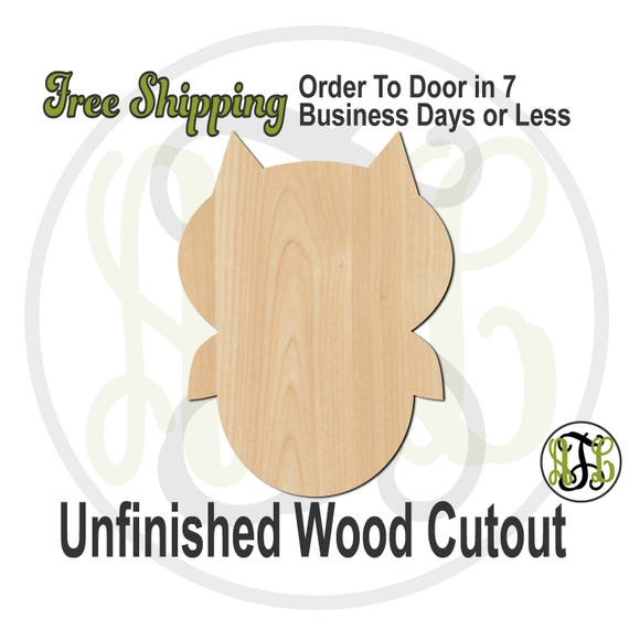 Owl 5 - 230097- Animal Cutout, unfinished, wood cutout, wood craft, laser cut shape, wood cut out, Door Hanger, wood cut out, wooden, blank