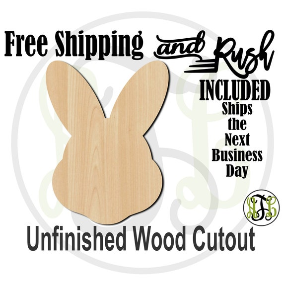Easter Bunny Head - 14004- Cutout, unfinished, wood cutout,  laser cut shape, Door Hanger, Holiday - RUSH PRODUCTION