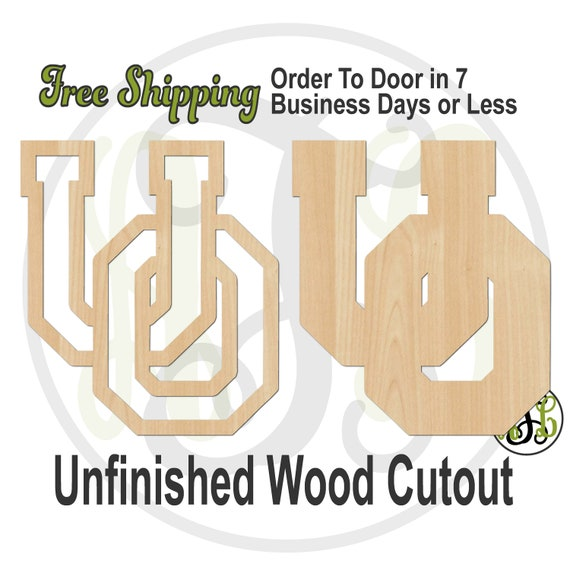 Interlocking U and O outline or solid- 60208-209 - Sport Cutout, unfinished, wood cutout, laser cut shape, wood cut out, Door Hanger, wooden