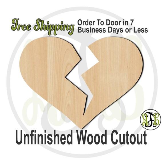 Broken Heart - 110016-Valentine Cutout, unfinished, wood cutout, wood craft, laser cut shape, wood cut out, Door Hanger, wooden, wall art