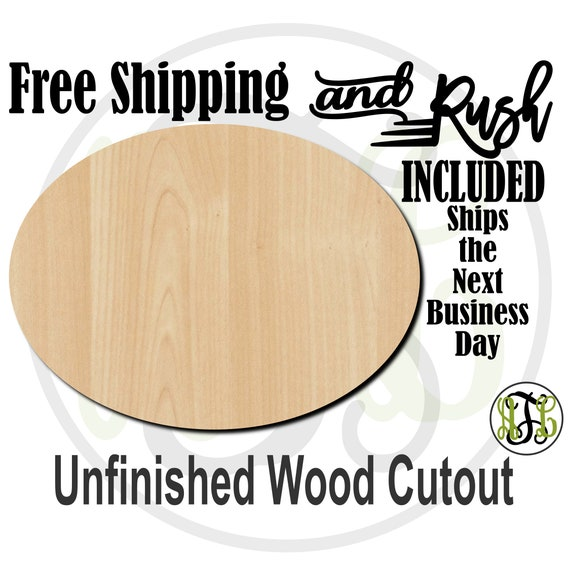 Plaque Oval Wood Cutout, Backboard for Sign, Simple Shape Cutout, unfinished, wood cut out, laser cut -40020- RUSH PRODUCTION