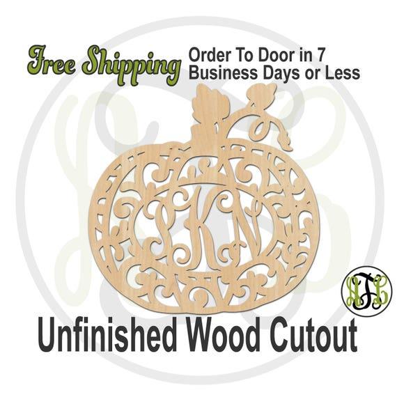Flourish Pumpkin 2 Monogram - 170028M3- Cutout, unfinished, wood cutout, wood craft, laser cut wood out, wood cut out, wooden