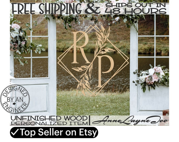 Wild Leaf Branch 2 Letter Monogram Wood Sign, Event Cutout, Wedding Sign, unfinished, wood cut out, laser cut, Ships in 48 HOURS -990084