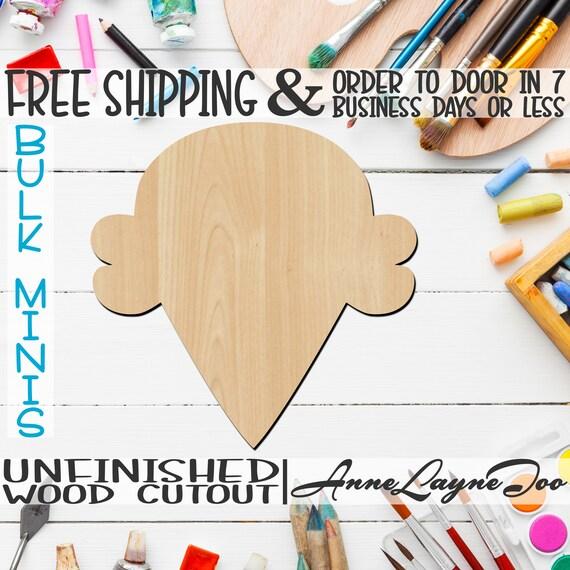 "Ice Cream Cone- 1"" to 6"" Minis, Small Wood Cutout, unfinished, wood cutout, wood craft, laser cut, wood cut out, ornament -80005"