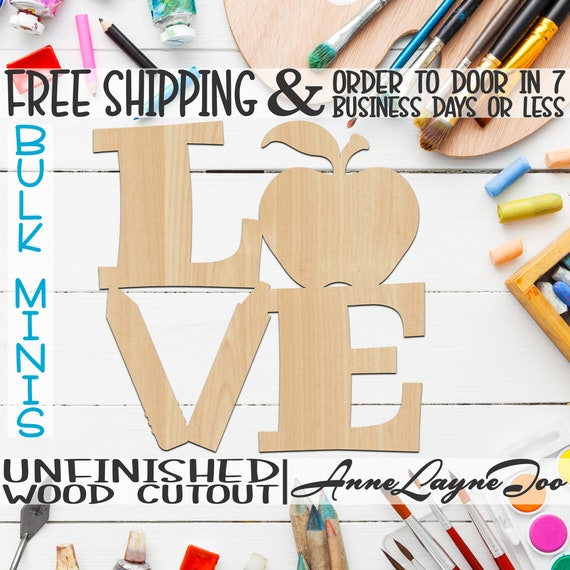 """School LOVE- 4"""" to 6"""" Minis, Small Wood Cutout, unfinished, wood cutout, wood craft, laser cut shape, wood cut out, ornament -70030"""