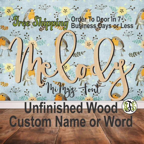 Unfinished Wood Custom Name or Word MiMgy Font, wood cut out, Script, Connected, wood cutout, wooden sign, Nursery, Wedding, Birthday