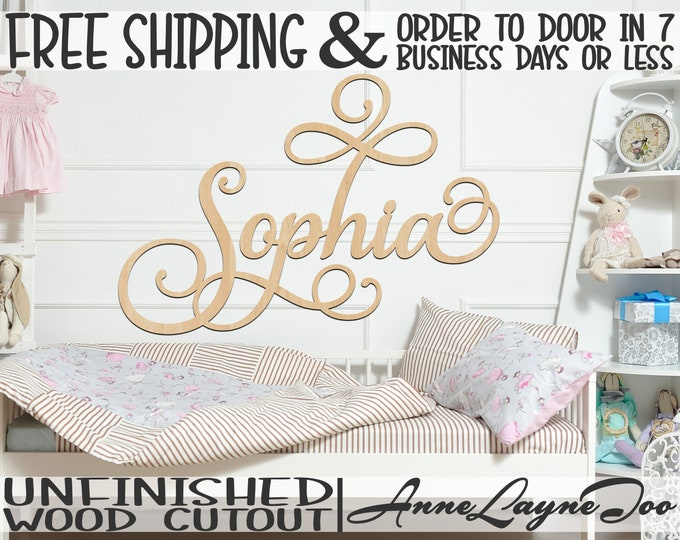 """3/8"""" Thick BBP Unfinished Wood Name Sign, SaISw Font, Nursery Name Sign, Wedding Sign, Birthday Sign, unfinished, wood cut out, laser cut"""