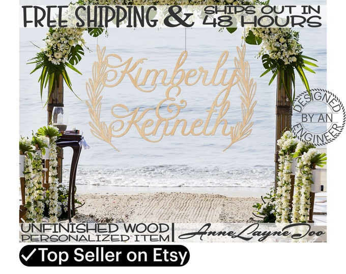 Wooden Laurels Wedding Sign, Wedding Sign Wood Cutout, Bridal Shower Decor, unfinished, wood cut out, laser cut, Ships in 48 HOURS -990058