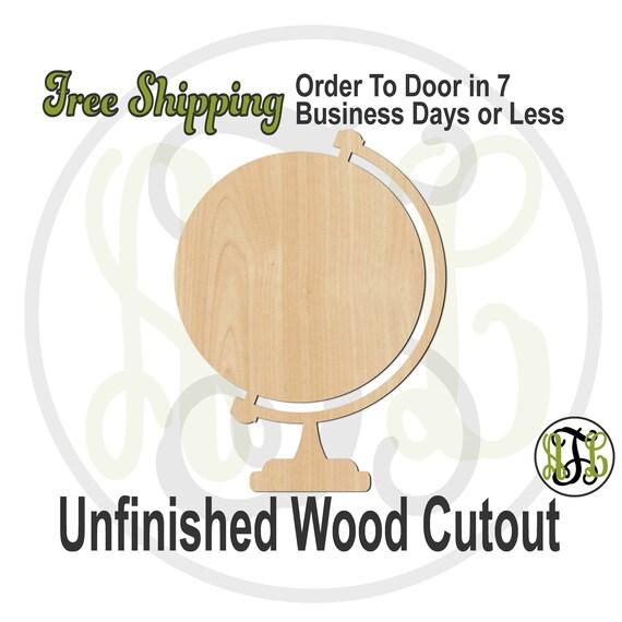 "World Globe- 3"" to 6"" Minis- 70027- Small Wood Cutout, unfinished, wood cutout, wood craft, laser cut, wood cut out, ornament"