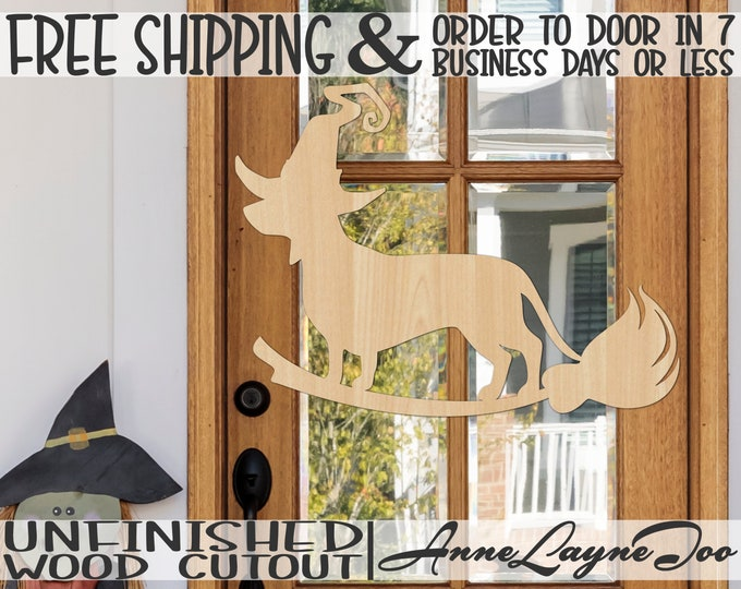 Dachshund Witch on Broom Wood Cutout, Halloween Cutout, Halloween Door Hanger, Dog Witch cutout, unfinished, wood cut out, laser cut -160066