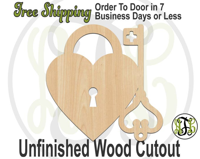 Heart Lock and Key- No. 110036- Valentine Cutout, unfinished, wood cutout, laser cut wood, wood cut out, Door Hanger, wooden sign, accent