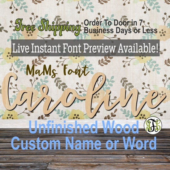 Custom Wood Name Sign, MaMs Font, Cursive, Connected, wood cut out, wood cutout, wooden, Nursery, Wedding, Birthday, word sign, Script