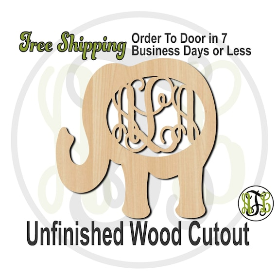 Elephant 1 Monogram - 230003M3- Personalized Cutout, 3-Letter Monogram , unfinished, wood cutout, wood craft, laser cut, wood cut out