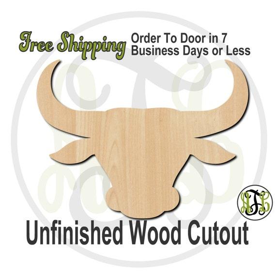 Bull Head Mascot - 60502- School Spirit Cutout, unfinished, wood cutout, wood craft, laser cut shape, wood cut out, Door Hanger, wooden
