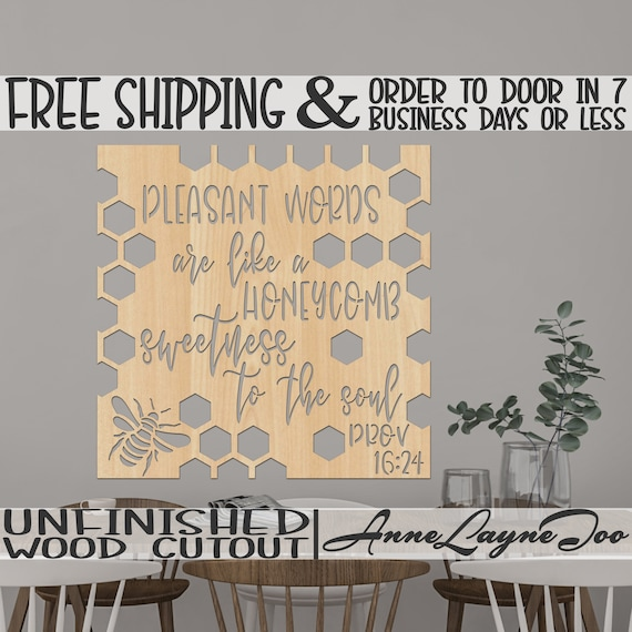Pleasant Words Honeycomb Wooden Cutout, Religious Decor Cutout, Wooden Wall Art, wooden sign, unfinished, wood cut out, laser cut -490001