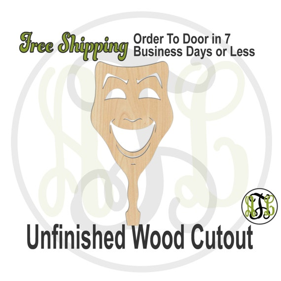 Happy Face Paddle - 3400022- Mardi Gras Cutout, unfinished, wood cutout, wood craft, laser cut shape, wood cut out, DIY, Free Ship