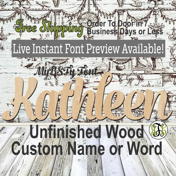 Custom Wood Name Sign, MyBSFy Font, Cursive, Connected, wood cut out, wood cutout, wooden, Nursery, Wedding, Birthday, word sign, Script