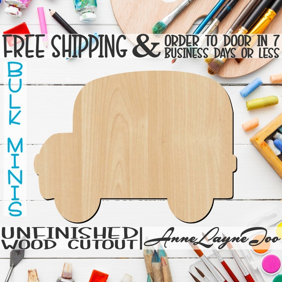 """School Bus Side- 2"""" to 6"""" Minis, Small Wood Cutout, unfinished, wood cutout, wood craft, laser cut, wood cut out, ornament -70004"""