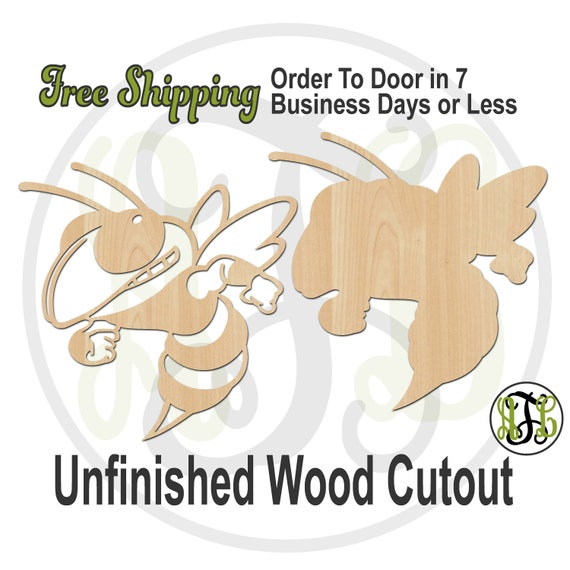 Yellow Jacket Outline or Solid Mascot - 60638-39 - Cutout, unfinished, wood cutout, wood craft, laser cut shape, wood cut out, wooden